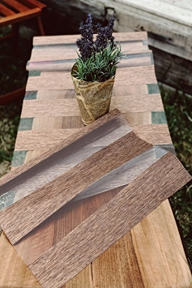 Arma House Bambu Görünümlü Modern Lazer Kesim Runner Renkli